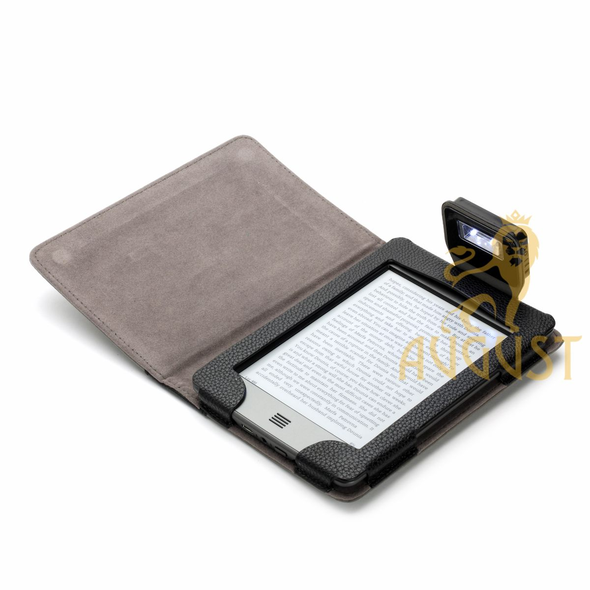 Grey Suede Cover with Rechargeable LED Light for Kindle Touch
